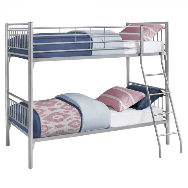 "56.75"" x 78.5"" x 65.75"" Silver, Metal, Detachable, Bunk Bed - Twin Size"