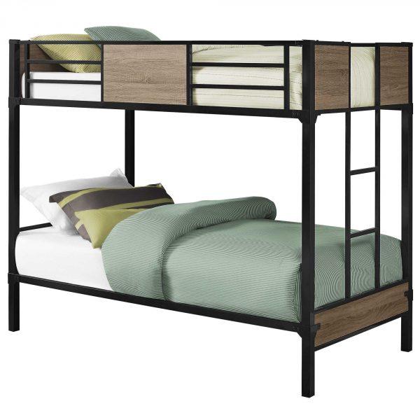 """41"""" x 78.5"""" x 64.5"""" Dark Taupe/Black, Metal - Bunk Bed Twin Size"""