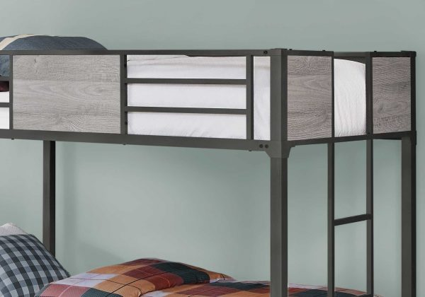 "41"" x 78.5"" x 64.5"" Grey/Dark Grey, Metal - Bunk Bed Twin Size"