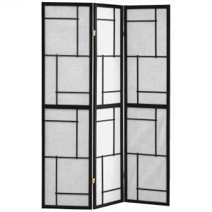"1"" x 52"" x 70.25"" Black, Frame, 3 Panel - Folding Screen"