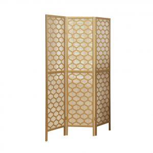 "52"" x 70.25"" Gold Frame, Lantern Design, 3 Panel - Folding Screen"