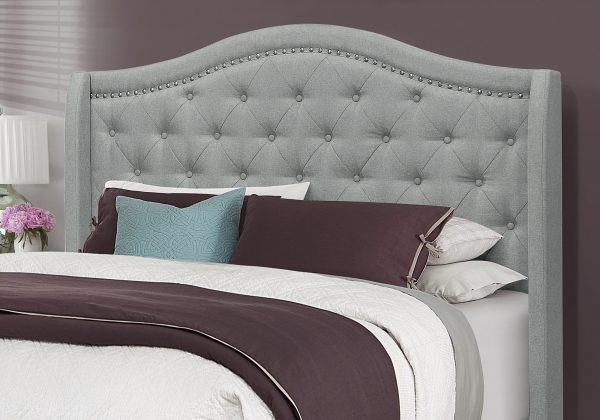 """66.5"""" x 87.5"""" x 56.5"""" Grey Linen With Chrome Trim - Queen Size Bed"""