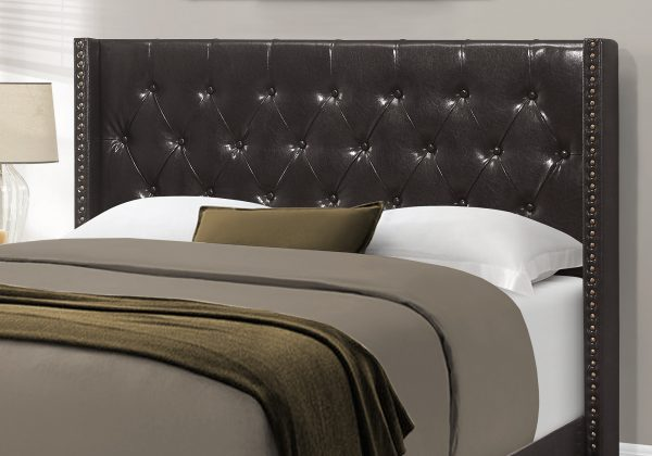 """66.5"""" x 87.5"""" x 49.75"""" Brown, Leather-Look With Brass Trim - Queen Size Bed"""