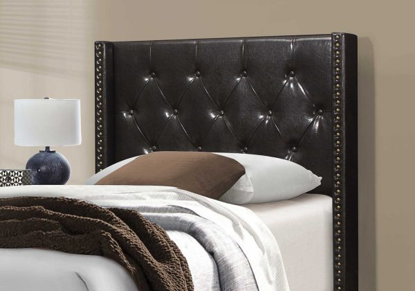 """45.25"""" x 82.75"""" x 49.75"""" Brown Leather Look With Brass Trim - Twin Size Bed"""