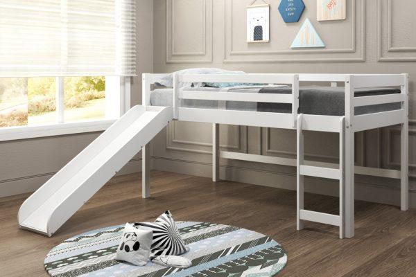 "78"" X 92"" X 44"" White Solid Pine MDF Veneers Mini Loft with Slide"