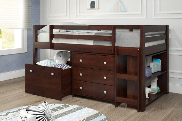 "78"" X 42"" X 44"" Chocolate Solid Pine MDF Veneers Mini Loft with Casegoods"