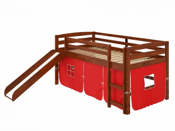 """41"""" X 81"""" X 46"""" Chocolate Solid Pine Red Tent Loft Bed with Slide and Ladder"""