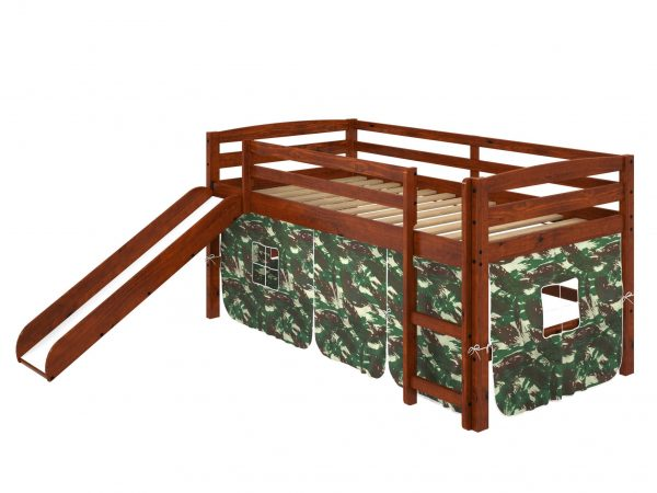 """41"""" X 81"""" X 46"""" Chocolate Solid Pine Camo Tent Loft Bed with Slide and Ladder"""