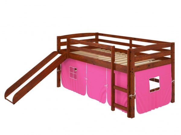 """41"""" X 81"""" X 46"""" Chocolate Solid Pine Pink Tent Loft Bed with Slide and Ladder"""