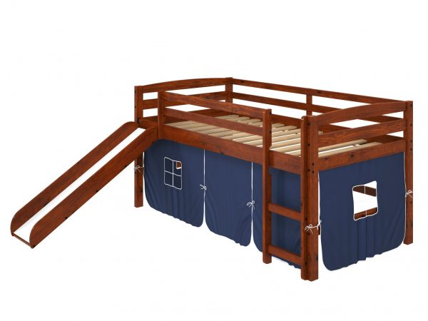 """41"""" X 81"""" X 46"""" Chocolate Solid Pine Blue Tent Loft Bed with Slide and Ladder"""