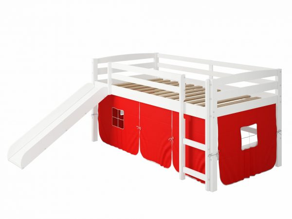 """41"""" X 81"""" X 46"""" White Solid Pine Red Tent Loft Bed with Slide and Ladder"""