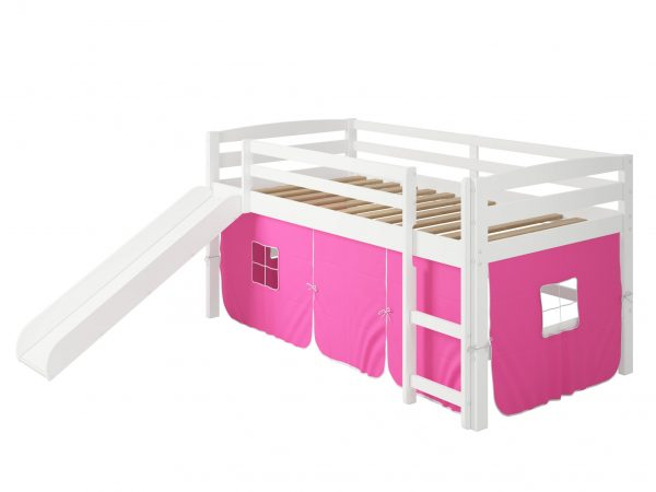 """41"""" X 81"""" X 46"""" White Solid Pine Pink Tent Loft Bed with Slide and Ladder"""