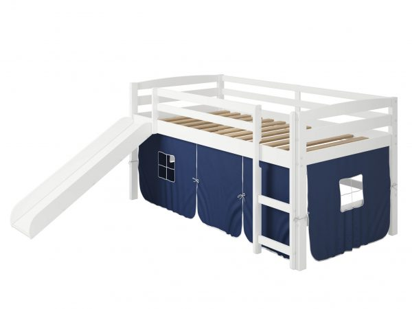 """41"""" X 81"""" X 46"""" White Solid Pine Blue Tent Loft Bed with Slide and Ladder"""