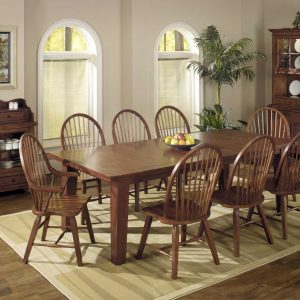 """44"""" X 96"""" X 30"""" Tobacco Hardwood Extendable Dining Table with Leaf"""