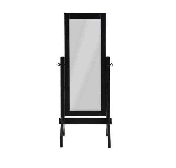 "22"" X 22.5"" X 59"" Black Rubberwood Rectangle Mirror"