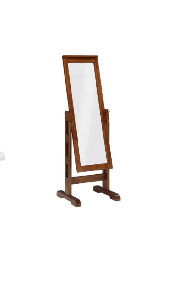 "22"" X 22.5"" X 59"" Mocha Rubberwood Rectangle Mirror"