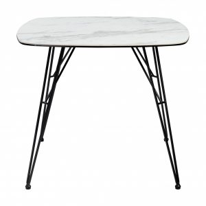 """35.44"""" X 35.44"""" X 29.53"""" White Laminated Ceramic Glass Dining Table with Black Powder Coated Steel Legs"""
