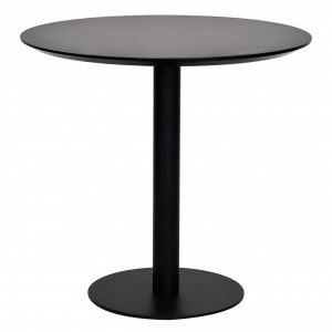 """31.5"""" X 31.5"""" X 29.53"""" Black MDF Round Dining Table with Powder Coated Steel Base"""