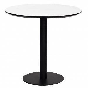 """31.5"""" X 31.5"""" X 29.53"""" White MDF Round Dining Table with Powder Coated Steel Base"""