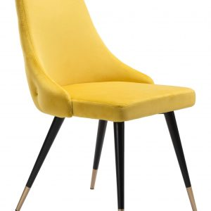"""20.5"""" x 24.6"""" x 34.8"""" Yellow, Velvet, Stainless Steel, Dining Chair - Set of 2"""