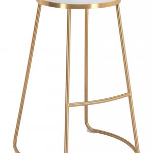 """20.3"""" x 17.5"""" x 30.5"""" White, Leatherette, Stainless Steel, Barstool - Set of 2"""