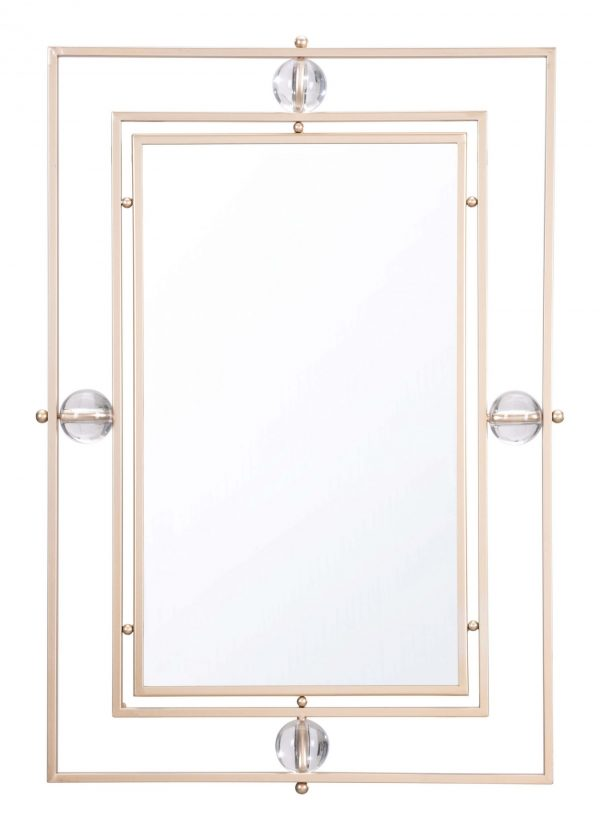 """22.4"""" x 2.4"""" x 32.3"""" Gold & Lucite, Steel & MDF, Rectangle Lucite Mirror"""