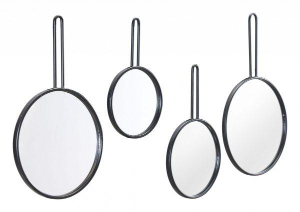 """9.8"""" x 0.8"""" x 16.5"""" Black, Steel, Mirror & MDF, Round Mirrors - Set of 4"""