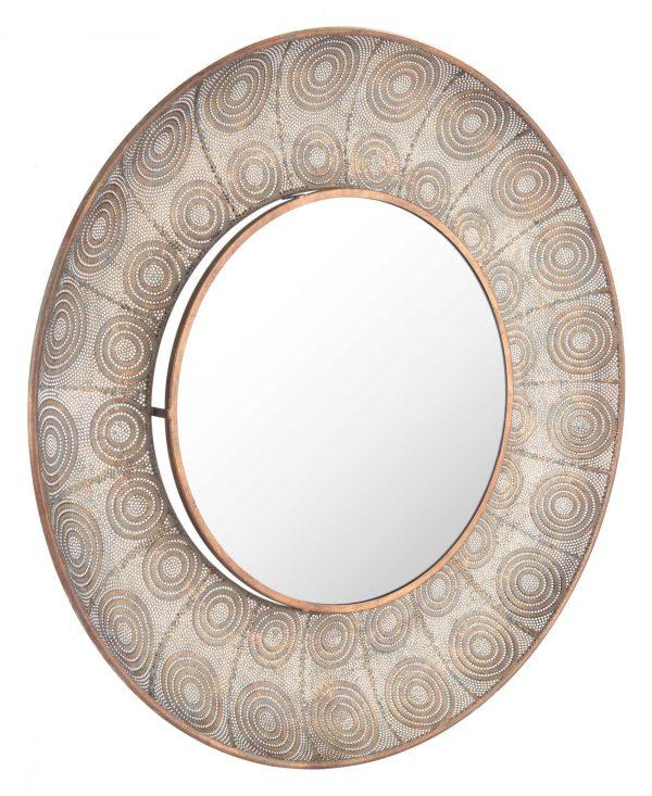 """36"""" x 3.3"""" x 36"""" Antique Gold, Steel, Mirror & MDF, Large Round Mirror"""