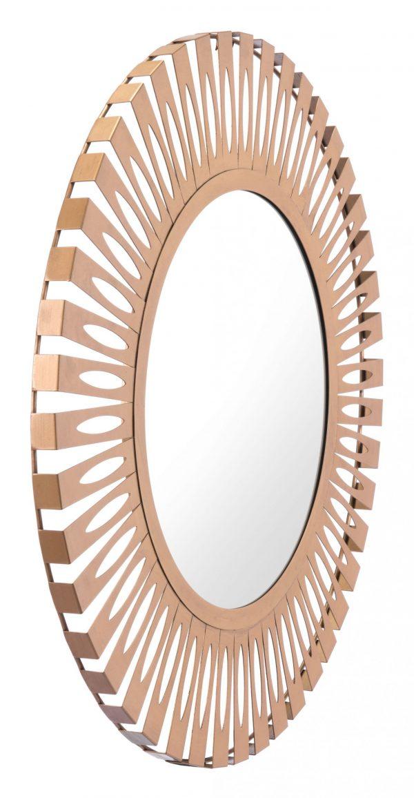 """27.4"""" x 1.2"""" x 27.4"""" Gold, Steel, Mirror & MDF, Round Mirror"""