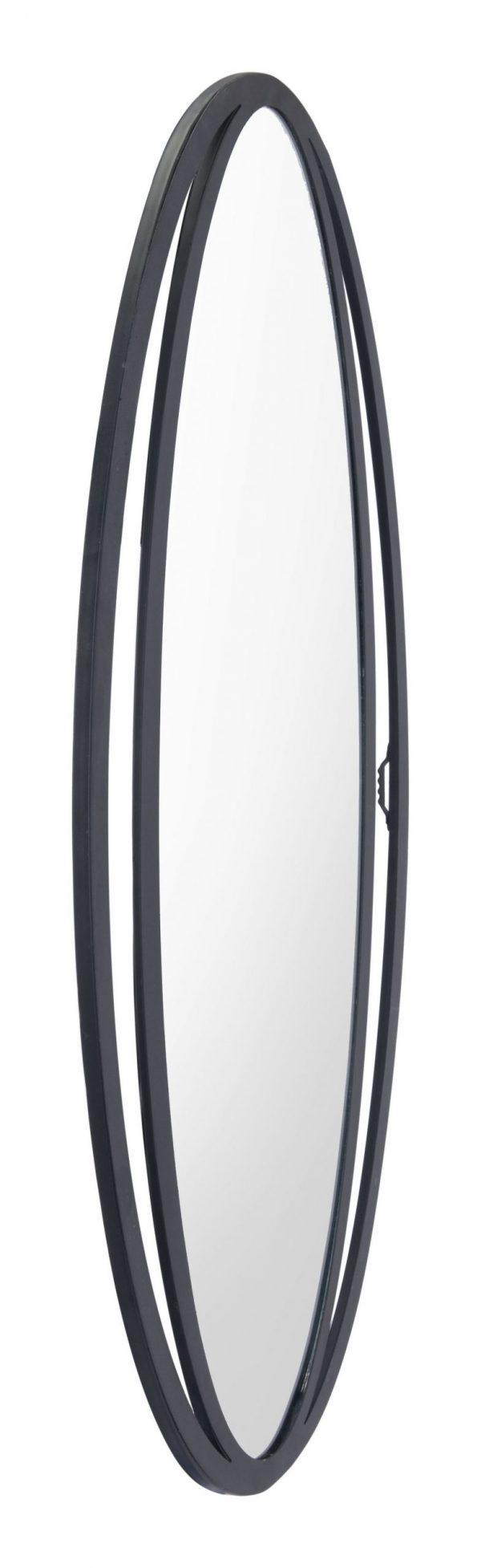 """20.5"""" x 0.6"""" x 31.3"""" Black, Steel & Mirror, Oval Mirror"""