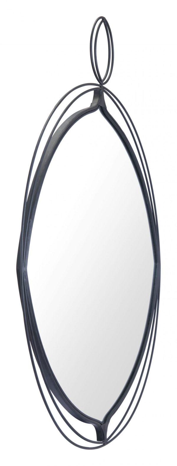 """29.9"""" x 1"""" x 35.4"""" Black, Steel, Mirror & MDF, Round Mirror"""