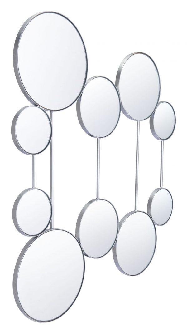 """34.8"""" x 0.8"""" x 41.1"""" Silver, Steel, Mirror & MDF, Round Mirrors"""