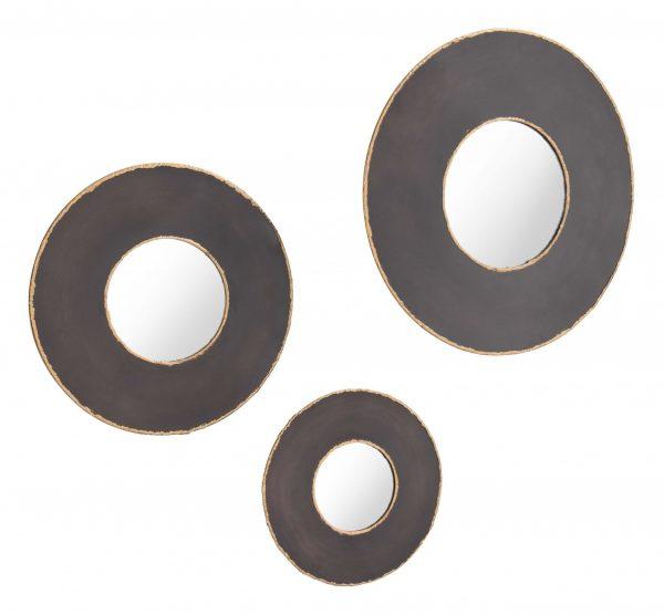 """19.7"""" x 1.2"""" x 19.7"""" Black, Steel, Mirror & MDF, Round Mirrors - Set of 3"""