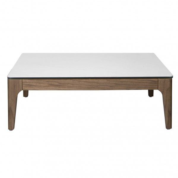 """35.36"""" X 35.36"""" X 14.57"""" Coffee Table in White Ceramic Glass and Walnut"""