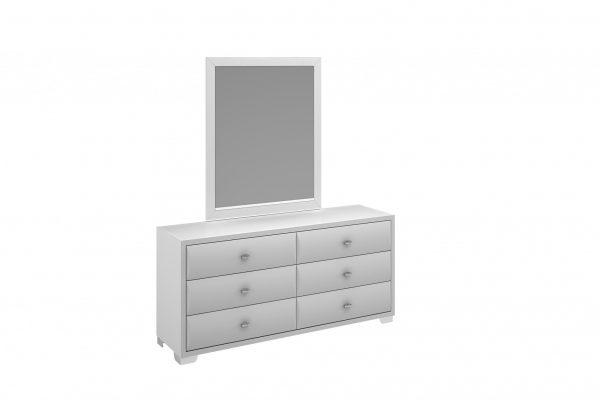 "32"" X 1"" X 44"" Gloss White Glass Mirror"