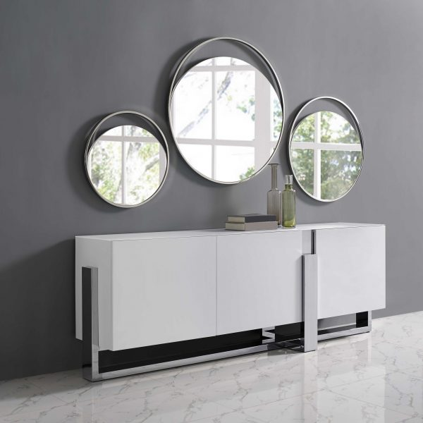 "40"" X 1.5"" X White Glass Large Round Mirror"
