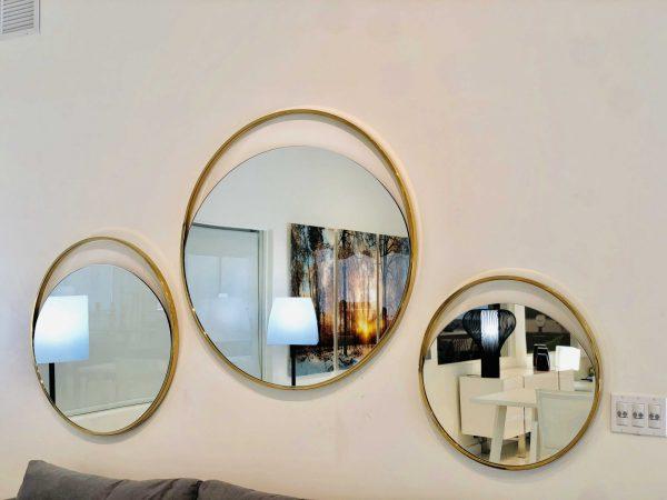 "32"" X 1.5"" X Black Polished Gold Glass Medium Round Mirror"