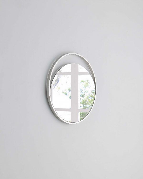 """23"""" X 1.5"""" X White Glass Small Round Mirror"""