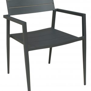 """24"""" X 24"""" X 31"""" Dark Grey Stainless Steel Dining Armed Chair"""