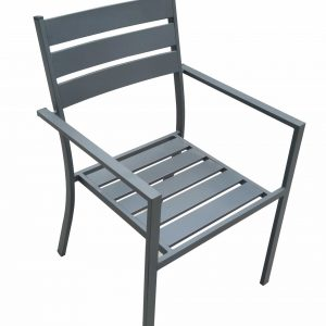"""22"""" X 23"""" X 34"""" Gray Aluminum Dining Armed Chair"""