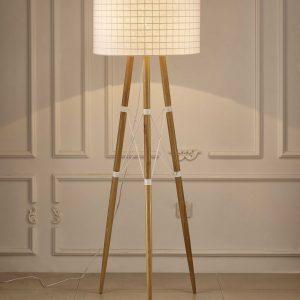 """22"""" X 22"""" X 66"""" White Aluminum Floor Lamp"""