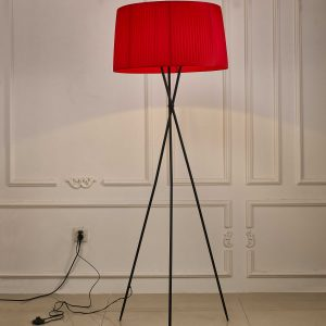 """20"""" X 20"""" X 69"""" Red Metal Floor Lamp"""