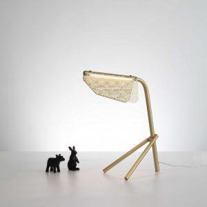 "13"" X 7"" X 18"" Golden Carbon Steel Table Lamp"
