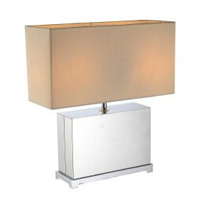 """17"""" X 7"""" X 19"""" White Stainless Steel Table Lamp"""