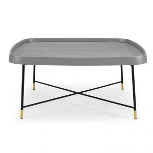 "35"" X 35"" X 16"" Gray Oak Stainless Steel Coffee Table"