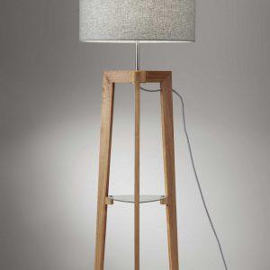 "19"" X 19"" X 60"" Natural Rubber Wood Shelf Floor Lamp"