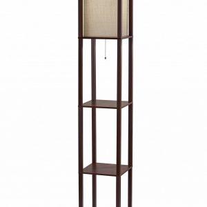 "10.25"" X 10.25"" X 63"" Walnut Fabric Shelf Lamp"