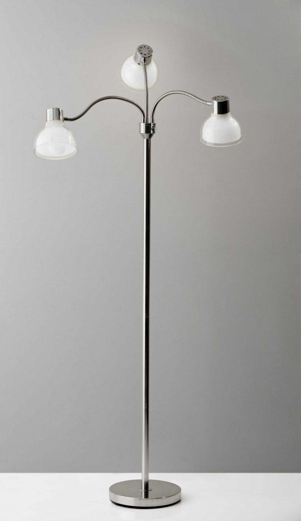 "30""  X 30""  X 69""  Chrome Metal 3-Arm Floor Lamp"