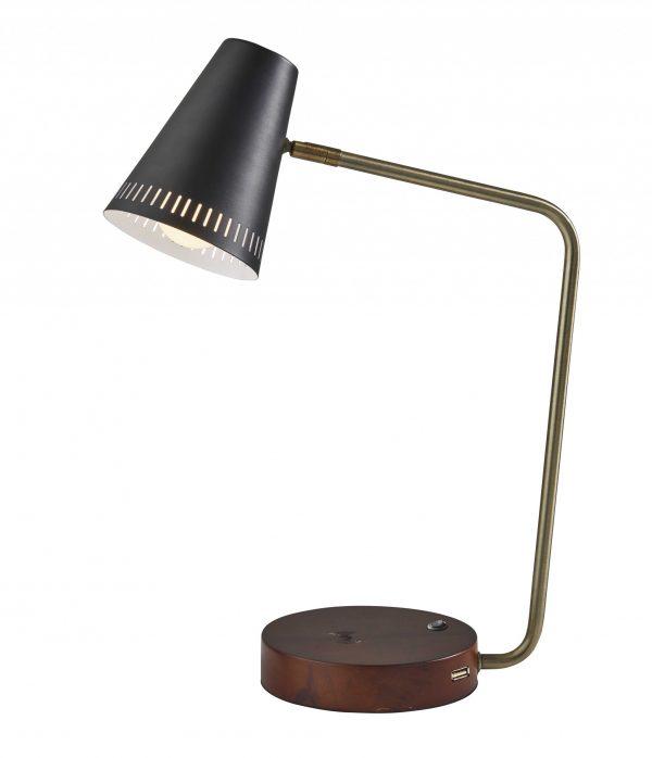 "6.25"" X 13.5""  X 18"" Black Metal Wireless Charging Desk Lamp"