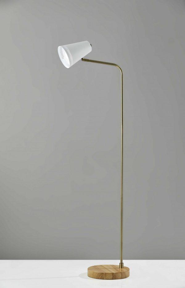"10"" X 18""  X 55""  White Metal Floor Lamp"